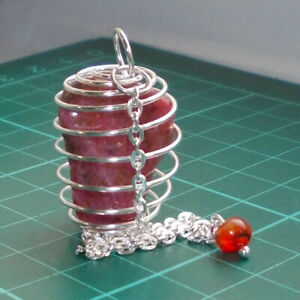 Auction Silver Plated Spiral Cage Dowsing Pendulum with Rhodonite Tumblestone