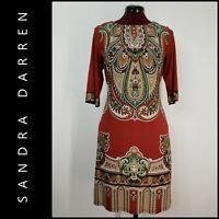 Sandra Darren Woman Career Formal Paisley Stretch Dress Size 10 Maroon