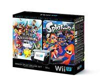 Nintendo Wii U Console Black 32GB Bundle Set Super Smash Bros + Splatoon Edition
