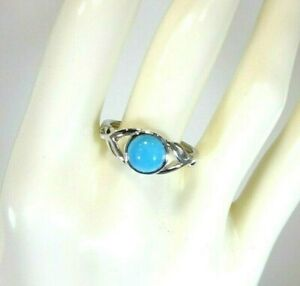 1.06 ct Genuine Arizona Turquoise Solid Sterling Silver Ring- US (7 1/2) AU(P)