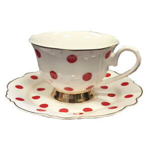 Blue Cadeaux Tea Cup and Saucer - White with Red Spot
