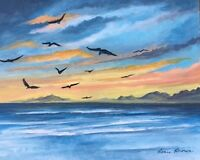 "8 x 10 ORIGINAL ACRYLIC ""SUNSET SEASCAPE"" ART PAINTING CANVAS BOARD ACEO ARTIST"