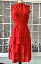 GIRLS FROM SAVOY ANTHROPOLOGIE Women's Red Ruffle Silk Dress Sleeveless Size 10