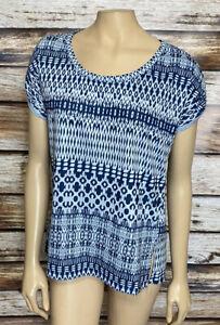 North Face Women's Blue Geo Print Tshirt Size Medium Cuffed Sleeve