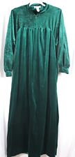 Komar Women Solid Green Velour Step in Zip Front Long Robe Size S Vintage USA