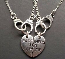 2 Partners In Crime Necklaces Vintage Silver Charm Choker Hearts Handcuffs