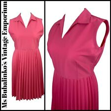 Size 16 18 VTG Day Dress 1960s Pink Open Collar Pleated Midi Mod Summer Revival