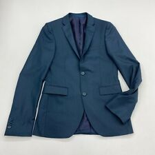 Topman Suit Jacket Mens 36 Blue Two Button Down Lined Stretch Pocket Formal