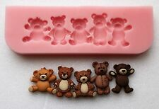 9cm TEDDY BEAR BORDER SILICONE MOULD FOR CAKE TOPPERS, CHOCOLATE, CLAY ETC