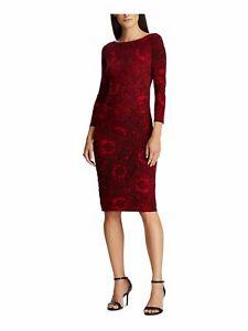 RALPH LAUREN $109 Womens New Red Paisley 3/4 Sleeve Sheath Dress 14 B+B