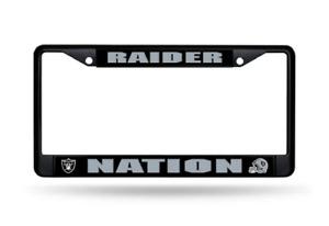 LAS VEGAS RAIDERS NATION NFL Licensed BLACK Metal Auto License Plate Frame