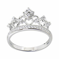 Women's Queen Royalty Princess Crown .925 Sterling Silver Fashion Ring Size 5-10