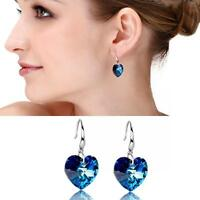 Elegant Crystal Silver Plated Blue Rhinestone Hook Ear Studs Hoop Earrings