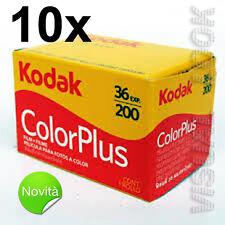 10 pezzi pellicola rullino Kodak Color Plus 36 foto 200 ISO 35 mm SCADENZA 2019