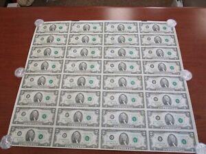 32 Piece 1976 Full Uncut Souvenir Sheet $2 Federal Reserve Notes