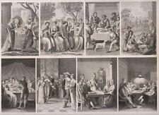 Usi e costumi antichi dal 1300 al 1800, musica, ballo, lettura gioc 1850  bulino