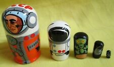 CCCP Cosmonauts Russian Nesting Doll Matreshka/Hand Made-Micro size!!5-pcs Set