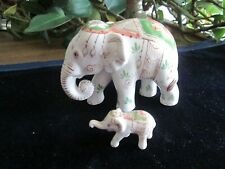Thai Porcelain Elephants, Mom & Baby w/ Beautiful Painted Decorations; Perfect C