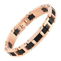 Men's Two-Tone Carbon Link Bracelet in Rose Gold-Plated Stainless Steel, 8.5""