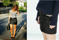ZARA Black Faux Leather Mini Skirt With Front Zip LARGE  BLOGGERS FAVORITE