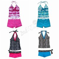 Girls Swimwear Kids Swimsuit Swimming Costume Bathing Suit Tankini Bikini 8-16T