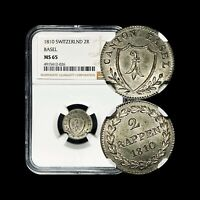 1810 Switzerland 2 Rappen (Silver Billon) - NGC MS 65 - Top Pop (Basel)