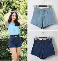 Ladies Denim Short Pants Womens High Waisted Shorts Hot Pants Size 6 8 10 12 14