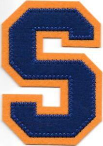 """4 """" Grand Bleu Orange Bloc Letterman's Lettre S Feutre Patch"""