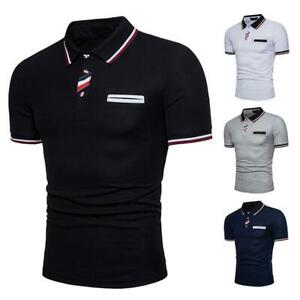 Men's Polo Dress Shirts Summer Short Sleeve T-Shirt Golf Slim Fit Sports Tops US