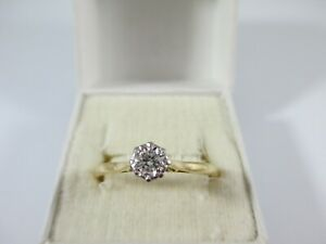 PRETTY VINTAGE,1964 18ct YELLOW GOLD DIAMOND SOLITAIRE RING UK SIZE W  2.5g