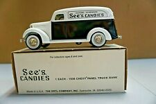 Vintage See's Candies - 1938 Ford Panel Truck by Ertl - Coin Bank with key NIB