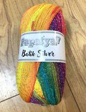 Bright Rainbow Glitter Swirl Papatya Batik Silver Yarn wool crochet knitting DK