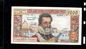 Billet 5000 Francs Henry IV 05/12/57 TTB Fay 49-04