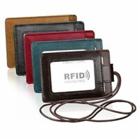 ID Badge Card Holder Leather Vertical Clip Neck Strap Lanyard Necklace Case RFID