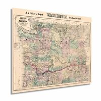 HISTORIX Vintage 1889 Washington State Map