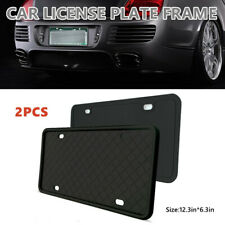 2PC Car Truck Black Silica Gel License Plate Frame Tag Standard Cover Protection