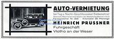 Auto Vermietung Prüssner Vlotho Reklame von 1928 Fuhrgeschäft Taxi Steinstraße