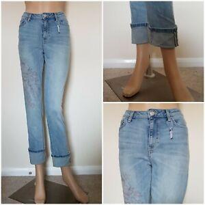 New  Turn Up Jeans Printet Blue Jeans Short/Reg Leg From Ex-M&S.Size:8-18