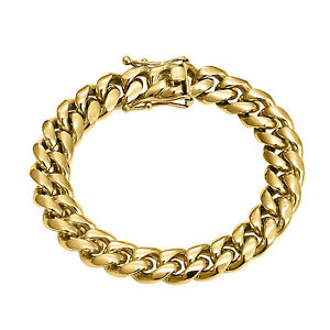 14k Yellow Gold Finish Miami Cuban Bracelet Hip Hop Thick 12mm Stainless Steel