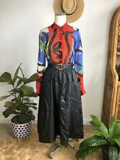 Vintage 80s Retro Black Leather A Line Midi Skirt Deep Pockets. Size 8 S