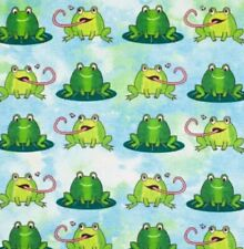 1 Yard Frogs Print 100% Cotton Snuggle Flannel Fabric BTY