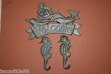(3)pcs, Mermaid Welcome, Seahorse, Wall Hooks,Mermaid Gift,Cast Iron, Bl-40 & 36