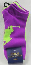 Polo Ralph Lauren 4 Pairs Purple Green Big Pony Ankle Socks 9-11 NWT