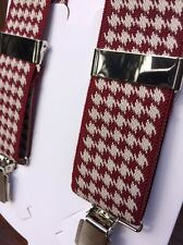 Super Red/white Dogtooth Braces 35mm width chrome Y back TAILS & THE UNEXPECTED