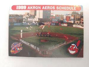 1999 Akron Aeros Pocket Schedule Affiliate Cleveland Indians Scott Morgan Bacsik