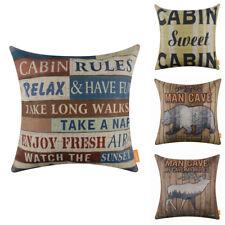 Man Cave Decorative Cushion Cover American Style Cabin Lodge Decor Pillow Case