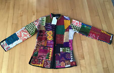 Mexicali Blues Silk Kantha Patchwork Multicolor Women Quilted Jacket Nwt S / M