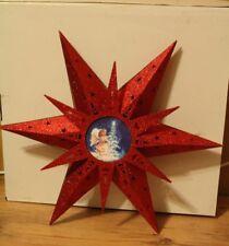 LED Holzstern mit Engelmotiv Weihnachten ROT 50 cm mit Fernbedienung