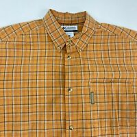 Columbia Button Up Shirt Men's 2XL XXL Short Sleeve Orange Plaid Casual Cotton
