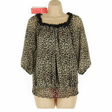 NEW BLACK, BROWN ANIMAL PRINT 3/4 SLEEVE GOING OUT GYPSY STYLE PARTY TOP SIZE 14